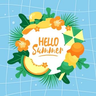 Olá verão de estilo desenhado de mão