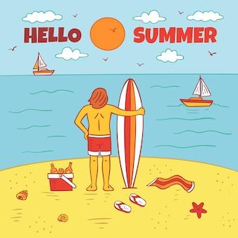 Olá verão desenhados à mão estilo