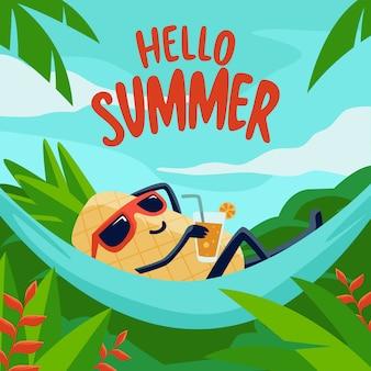 Olá verão desenhados à mão