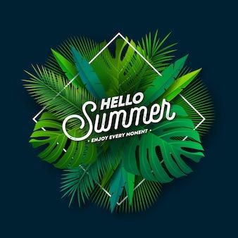 Olá verão design com letra de tipografia e folhas de palmeira tropical