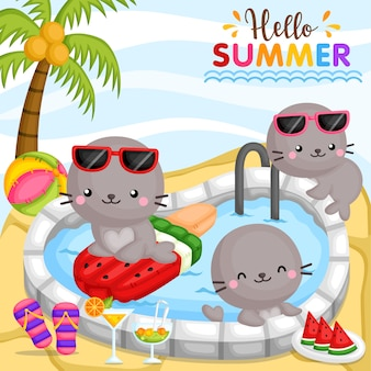 Olá verão do selo