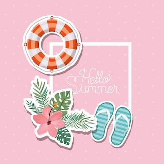 Olá verão e design de adesivos de férias