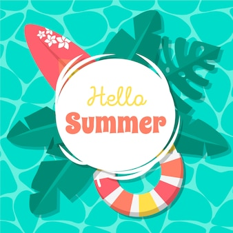 Olá verão em design plano