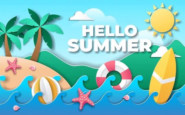 Olá verão em estilo de papel vetor premium