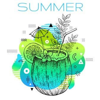 Olá verão estilo memphis com desenho de coquetel de coco.