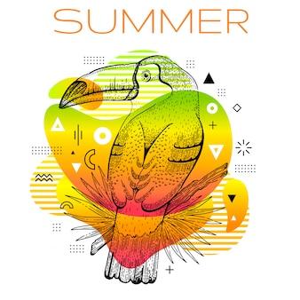 Olá verão estilo memphis com desenho de pássaro tucano.