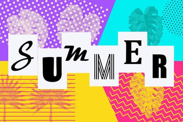 Olá verão estilo retro cenário de férias 80s 90s pop art letras de texto em quadrinhos de verão