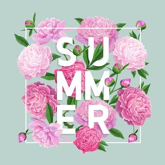 Olá verão floral design com flores de peônia
