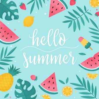 Olá, verão, frutas de verão e folhas tropicais em um fundo azul claro. ilustração vetorial