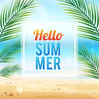Olá, verão, fundo, palma, árvore, desenho