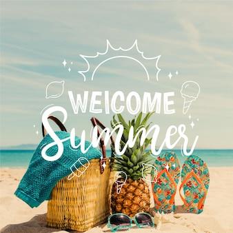 Olá verão; gravação com foto