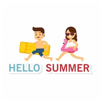 Olá verão, jovem e mulher pulando alto nos feriados