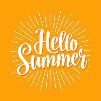 Olá, verão, letras desenhadas à mão com raios. ilustração em vetor cor isolada em amarelo.