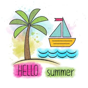 Olá verão. letras em aquarela