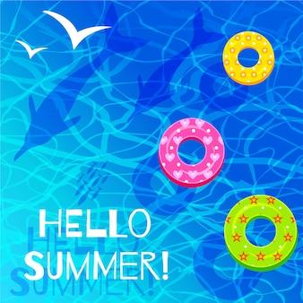 Olá verão letras ondas do mar azul