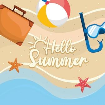 Olá verão. maleta com bola de praia e máscaras de snorkel com estrelas do mar na areia