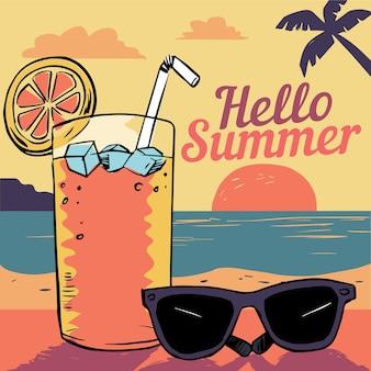 Olá verão mão desenhada com coquetel e óculos de sol