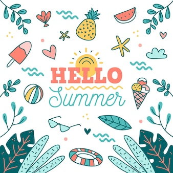 Olá verão mão desenhada com frutas e sorvete