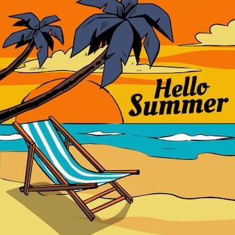 Olá verão mão desenhada com praia e palmeiras