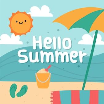 Olá verão mão desenhada com praia