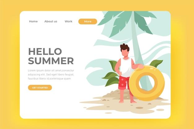 Olá verão na página de destino da praia
