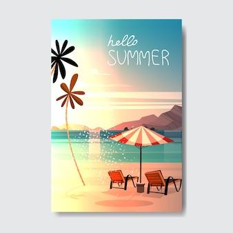 Olá verão paisagem palm tree beach umbrella badge