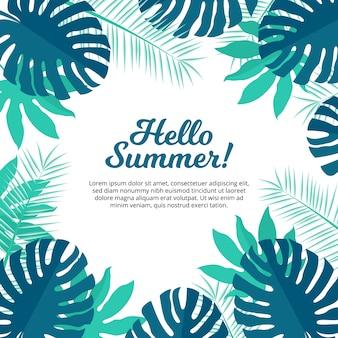 Olá, verão, palmeira, árvore, fundo