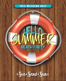 Olá verão, pôster de festa na praia com círculo de vida na parede de madeira