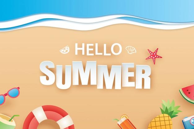 Olá verão praia vista superior viagens e férias de fundo.