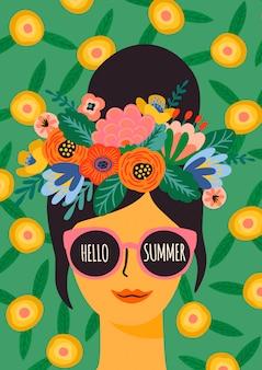 Olá verão. senhora bonita em copos com coroa de flores, cartaz.