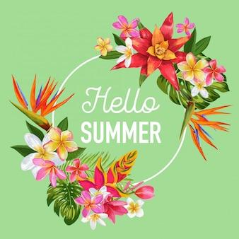 Olá verão tropic design banner flores