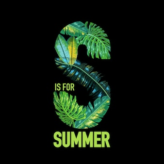 Olá verão tropical design com folhas de palmeira