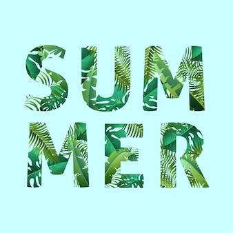 Olá verão, verão. o cartaz de texto no contexto de plantas tropicais. o cartaz para venda e uma placa publicitária