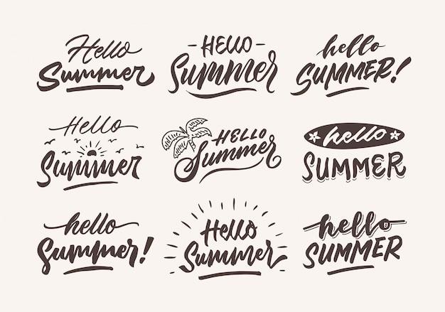Olá verão vintage mão letras