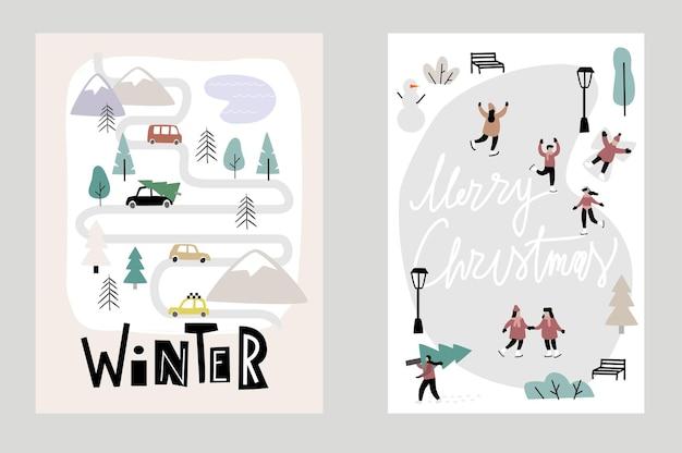 Olá, vetor de cartões de natal de inverno. pessoas patinando no gelo e uma pequena cidade.