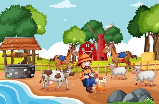 Old macdonald em uma cena de rimas infantis em uma fazenda