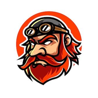 Old pilot e sport mascot logo