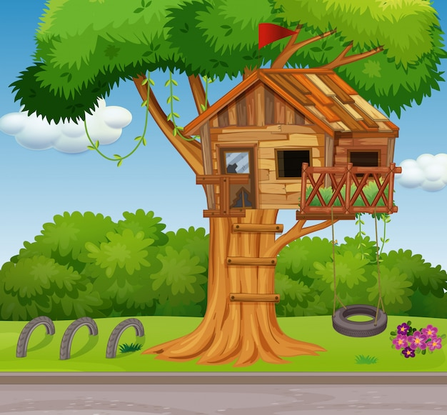 Old treehouse e balanço no parque