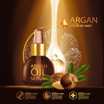 Óleo de argan soro e conceito de fundo cosmético para cuidados com a pele