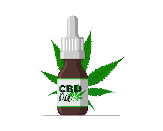 Óleo de cânhamo cbd de extrato de cannabis medicinal em frasco de vidro marrom ícone de folha de maconha rótulo do produto