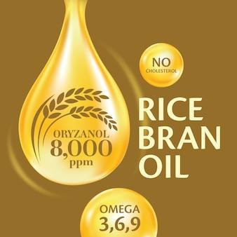 Óleo de farelo de arroz com detalhes informativos