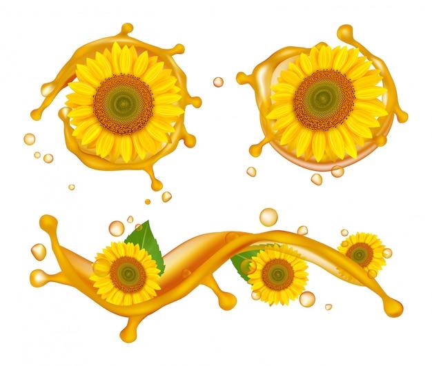 Óleo de girassol. ilustração realista de girassóis, respingos de óleo e gotas