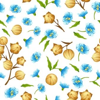 Óleo de linhaça de padrão uniforme, campo de linho, sementes, flores
