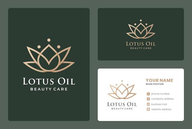 Óleo de lótus de monograma, cuidados de beleza, design de logotipo de cosméticos naturais com design de cartão de visita.