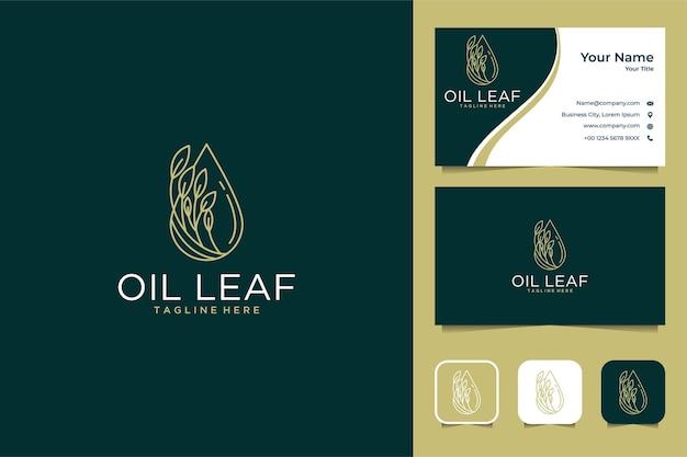 Óleo de luxo com design de logotipo de arte de linha de folhas e cartão de visita