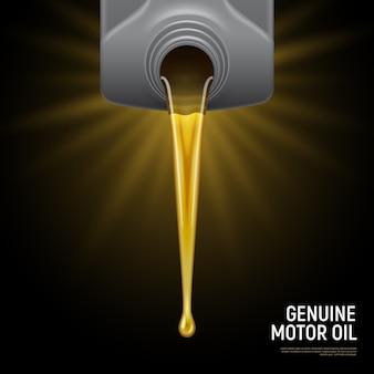 Óleo de motor realista preto com título de óleo de motor genuíno e líquido fluido