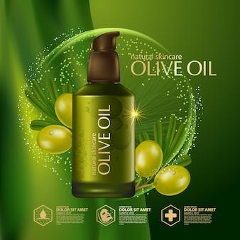 Óleo de oliva orgânico cosmético para cuidados com a pele