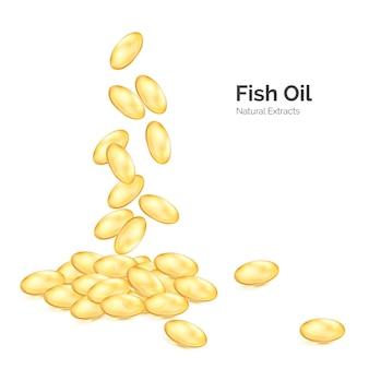 Óleo de peixe ômega 3. cápsulas transparentes com suplemento nutricional.