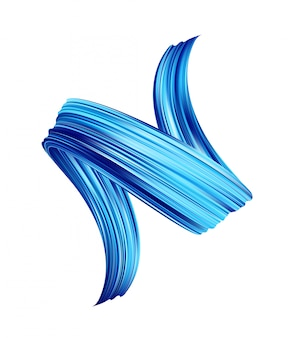 Óleo de pincelada de cor azul realista 3d ou tinta acrílica.