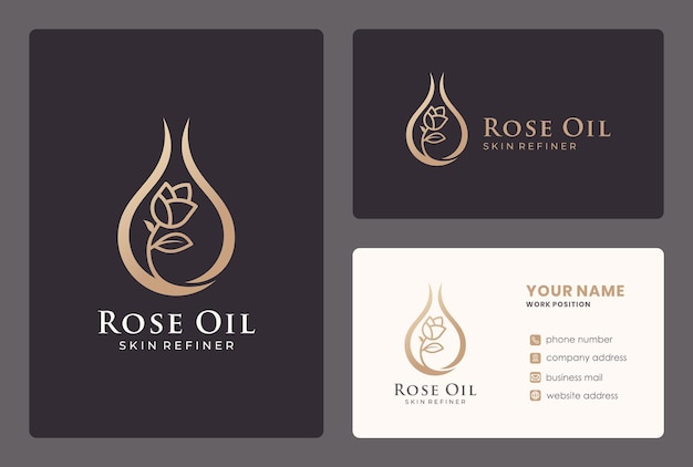 Óleo de rosa elegante, cosméticos, cuidados de beleza, flores, gotas, logotipo de cuidados com a pele com cartão de visita.